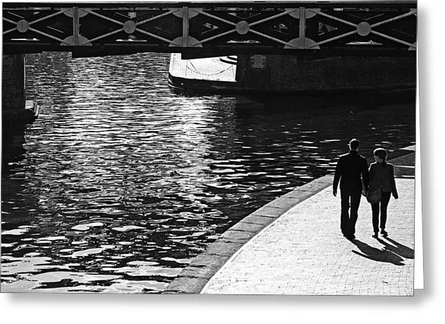 Greeting Card featuring the photograph Couple And Canal by Adrian Pym