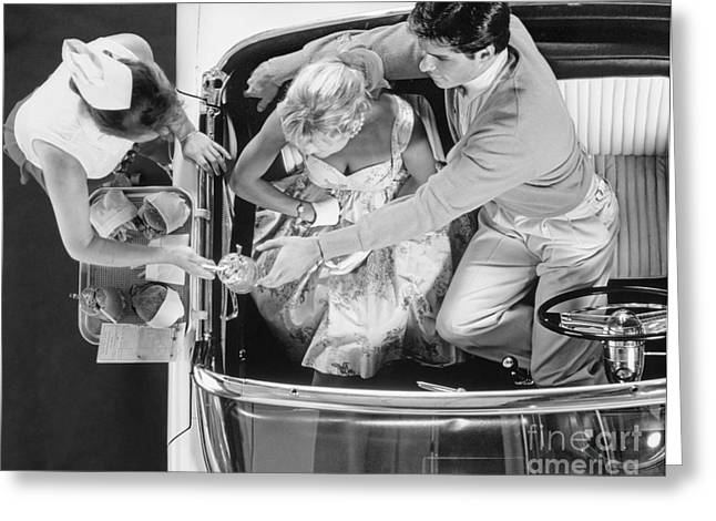 Couple At A Drive-in, C.1950s Greeting Card by H. Armstrong Roberts/ClassicStock