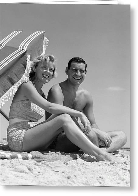 Couple At The Beach, C.1950s Greeting Card by H. Armstrong Roberts/ClassicStock