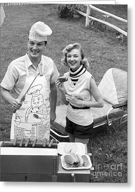 Couple Cooking Out, C.1950s Greeting Card by Debrocke/ClassicStock
