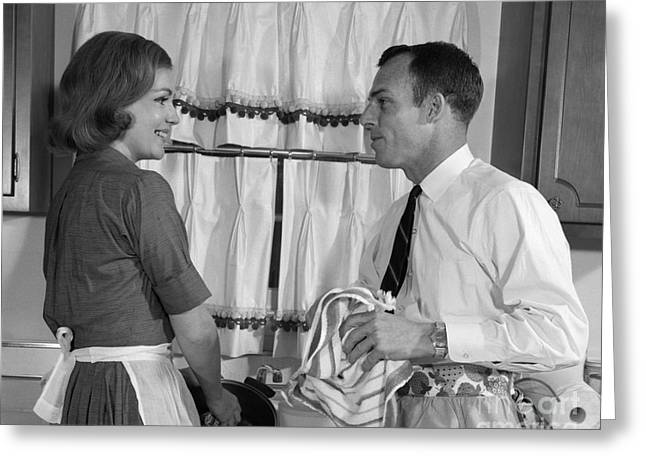 Couple Doing Dishes, C.1960s Greeting Card