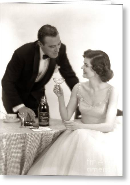 Couple Drinking Champagne, C.1950s Greeting Card by Corry/ClassicStock