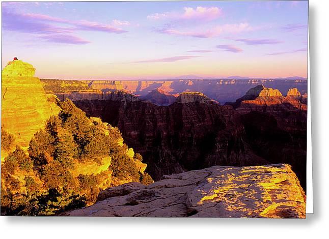 Couple Enjoys Grand Canyon Sunset Greeting Card by Alan Lenk
