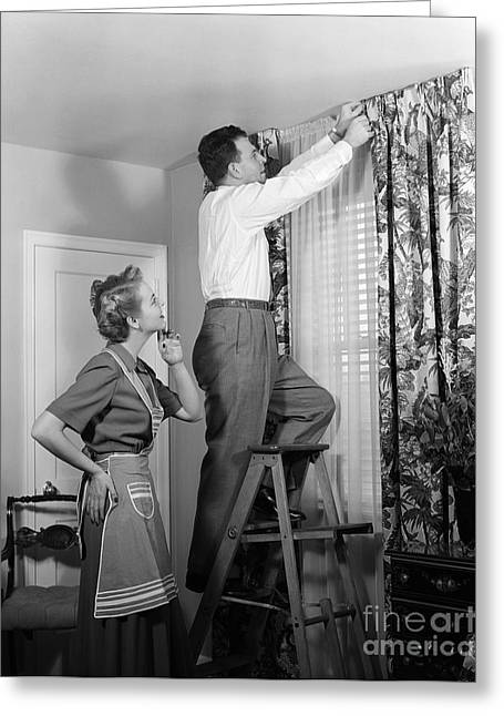 Couple Hanging New Drapes, C.1950s Greeting Card