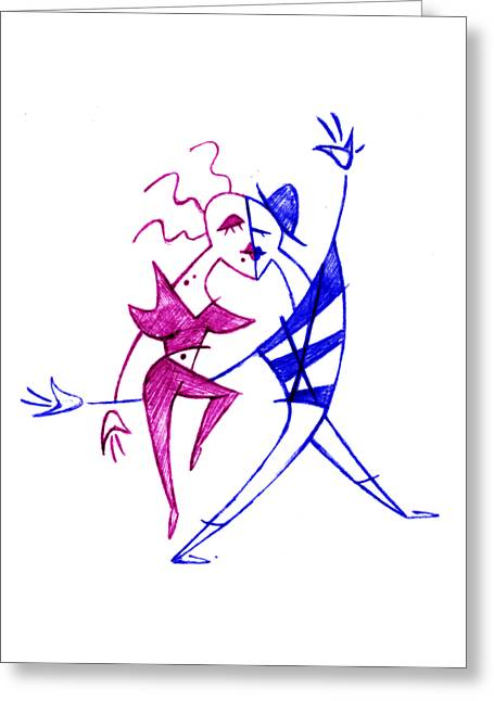 Couple In Love Dancing - Funny Illustration Greeting Card by Arte Venezia