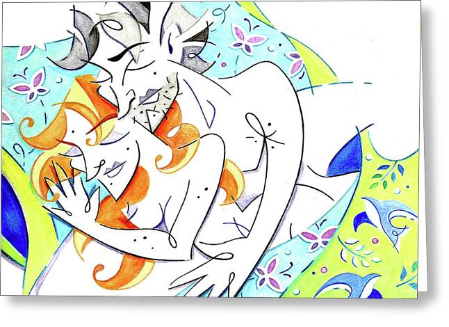 Couple In Love Dreaming Together - Sleeping Beauties Greeting Card