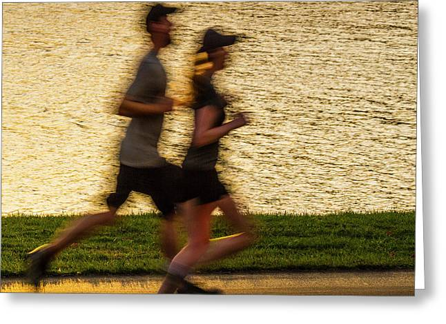 Couple Jogging In Forest Park Greeting Card by Garry McMichael