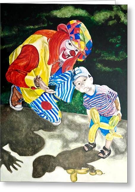 Greeting Card featuring the painting Couple Of Clowns by Lance Gebhardt