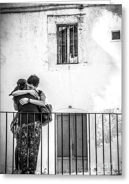 Couple Of Guys Hugging Leaning On A Railing - Black And White With Vignetting Greeting Card