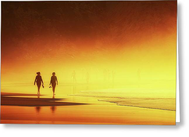 Couple Of Women Walking On Beach Greeting Card by Mikel Martinez de Osaba