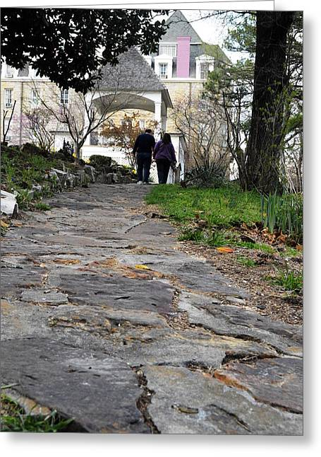 Couple On A Garden Path Greeting Card