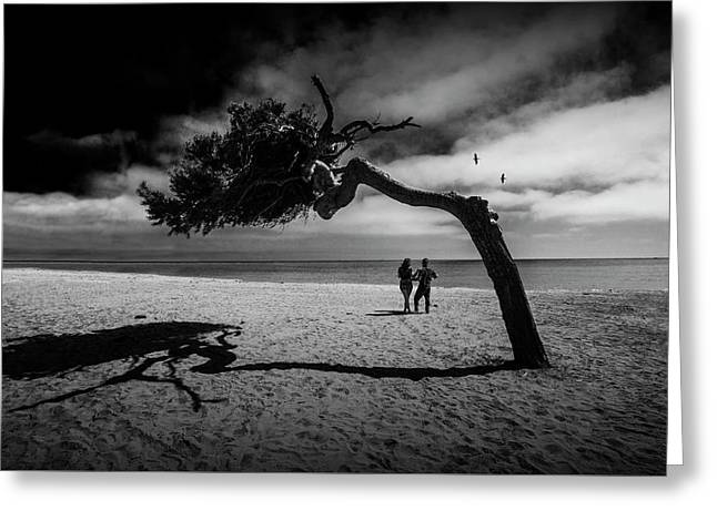 Greeting Card featuring the photograph Couple On Cabrillo Beach By Los Angeles California by Randall Nyhof