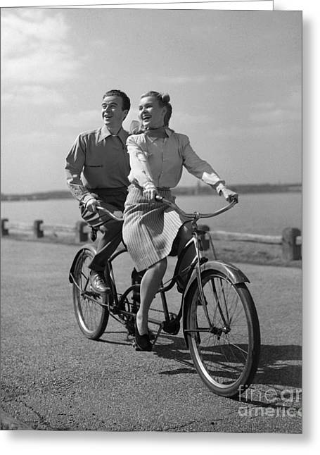Couple On Tandem Bicycle, C.1950s Greeting Card by Debrocke/ClassicStock