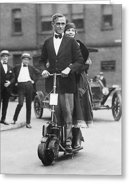 Couple Riding An Autoped Greeting Card by Underwood Archives