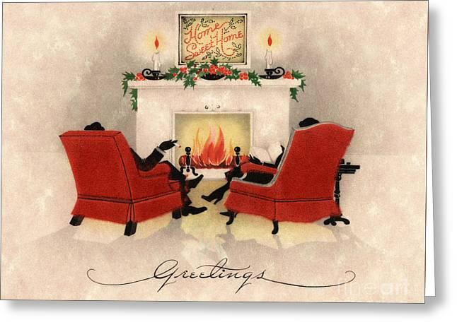 Couple Sitting Before Roaring Fireplace On Christmas Eve Greeting Card