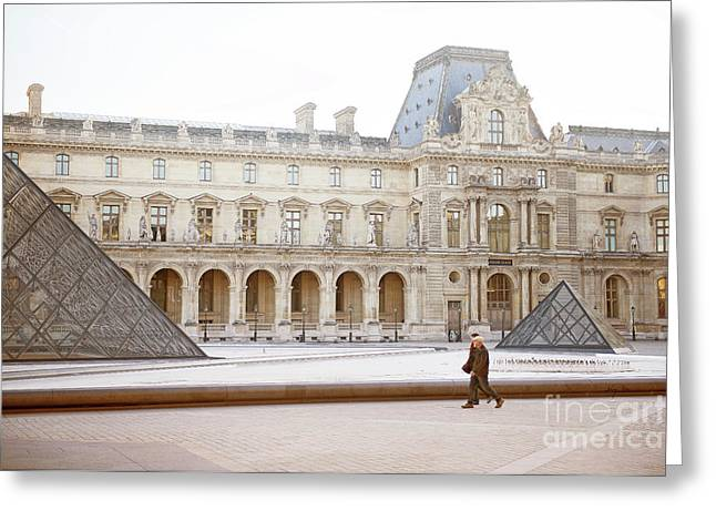 Greeting Card featuring the photograph Couple Strolling At Louvre Museum  by Ivy Ho