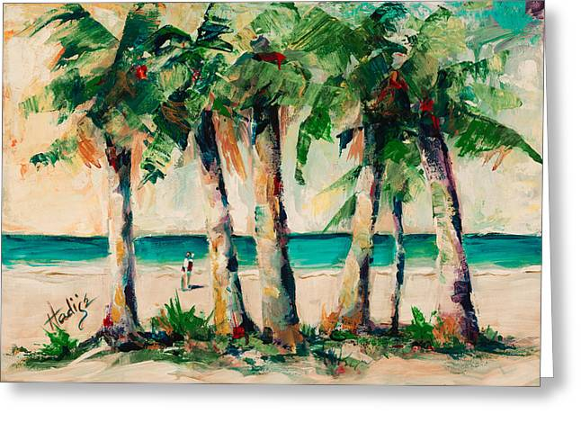 Couple Under Palm Trees Greeting Card by Mary DuCharme