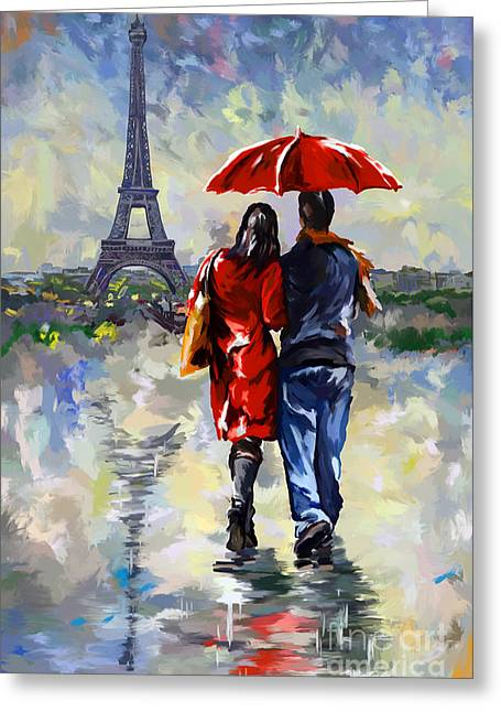 couple walking in the rain Paris Greeting Card