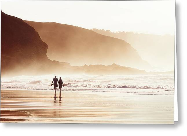 Couple Walking On Beach With Fog Greeting Card