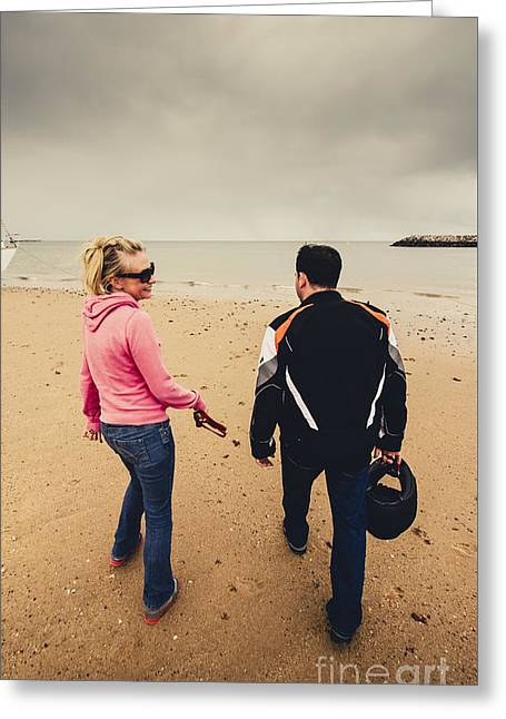 Couple Walking Together On Overcast Beach Greeting Card by Jorgo Photography - Wall Art Gallery