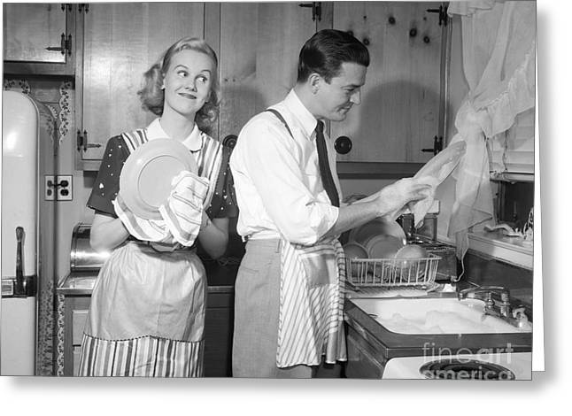Couple Washing Dishes And Smiling Greeting Card by Debrocke ClassicStock
