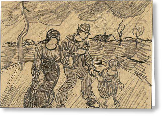 Couple With Child, Walking In The Rain, 1890 Greeting Card by Vincent Van Gogh