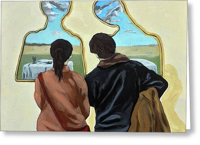 Couple With Their Heads Full Of Clouds Greeting Card by Linda Apple