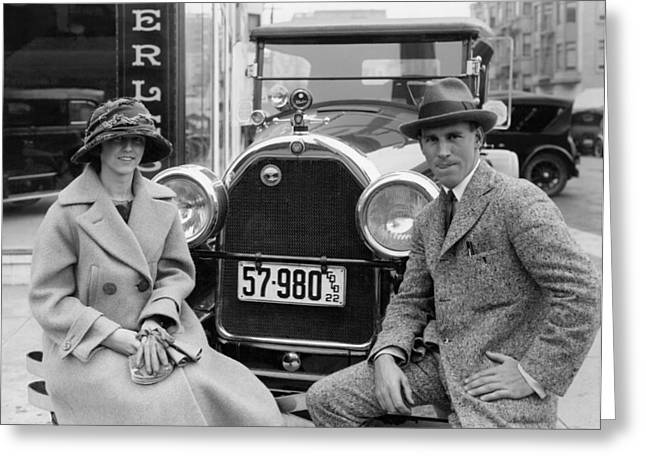 Couple With Their Peerless Car Greeting Card by Underwood Archives