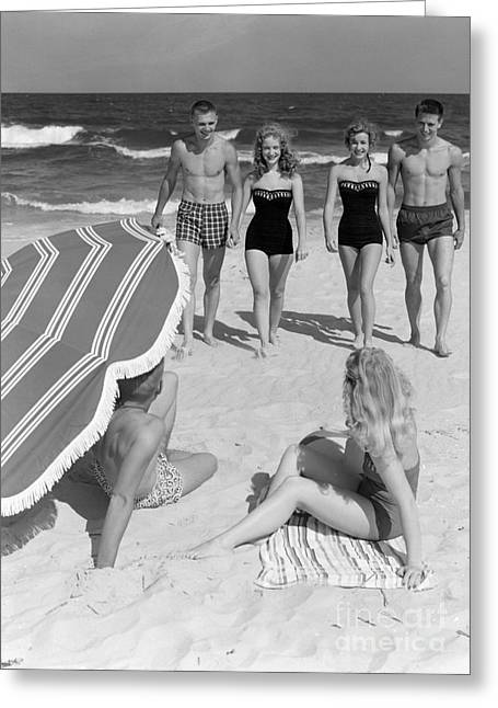 Couples At The Beach, 1950s Greeting Card by H. Armstrong Roberts/ClassicStock