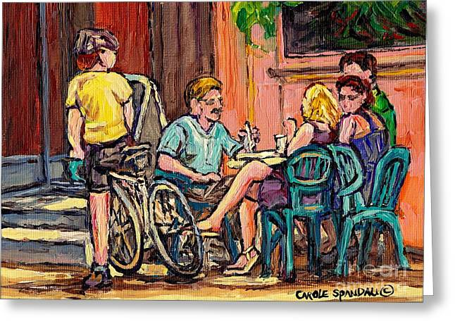 Couples Lunch At Lakeshore Paris Style Sidewalk Terrace Bistro Painting Quebec Art Carole Spandau Greeting Card by Carole Spandau