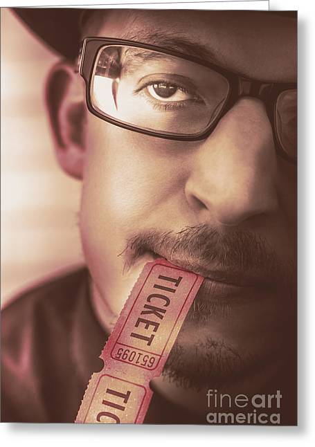 Coupon Man Eating Food And Beverage Ticket Stub  Greeting Card by Jorgo Photography - Wall Art Gallery
