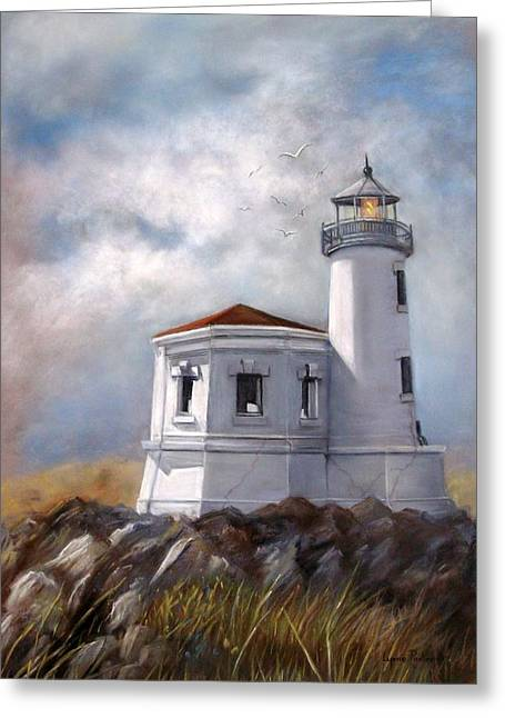 Couquille River Lighthouse  Bandon Ore. Greeting Card by Lynne Parker