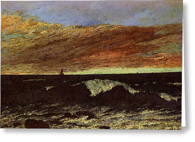 Courbet Gustave La Vague Greeting Card