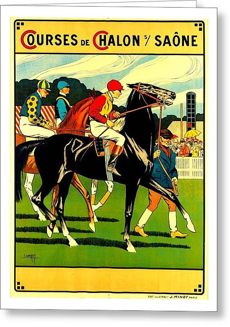 Courses De Chalon French Horse Racing 1911 II Greeting Card