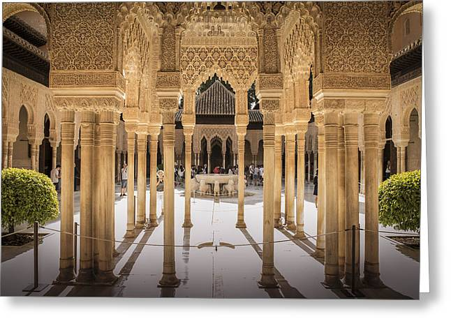 Court Of The Lions - Alhambra Palace - Granada Spain Greeting Card
