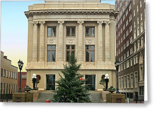 Courthouse At Christmas Greeting Card by Greg Joens