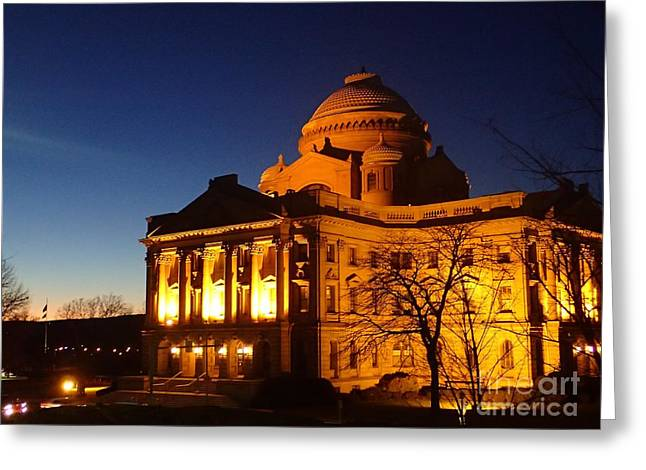 Courthouse At Night Greeting Card