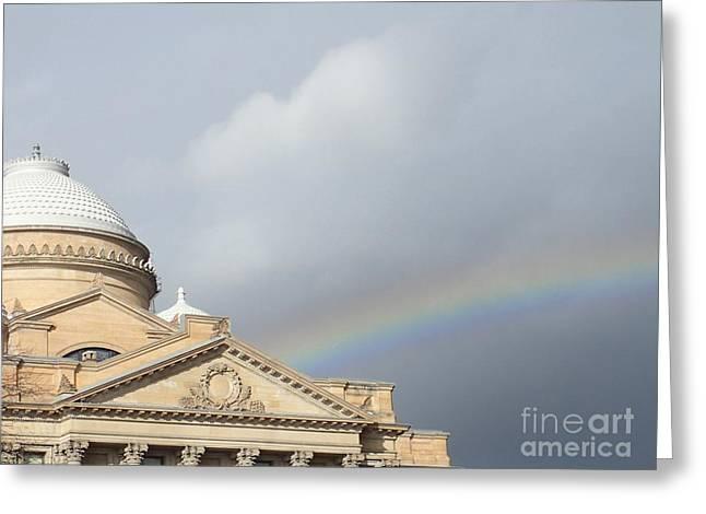 Courthouse Rainbow Greeting Card