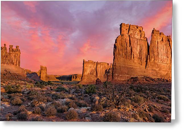 Courthouse Towers And Three Gossips Greeting Card by T-S Fine Art Landscape Photography