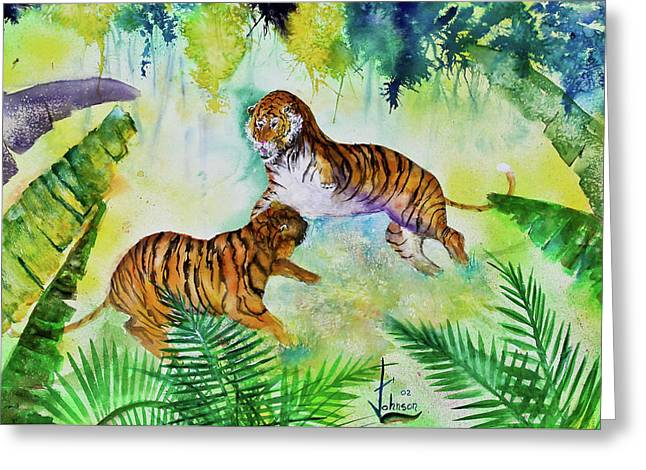 Preditor Greeting Cards - Courting Tigers. Greeting Card by Larry  Johnson