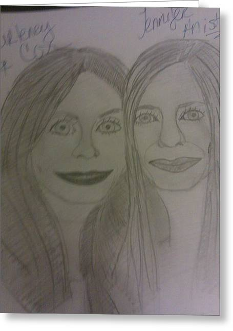 Courtney Cox And Jennifer Ansiton Greeting Card