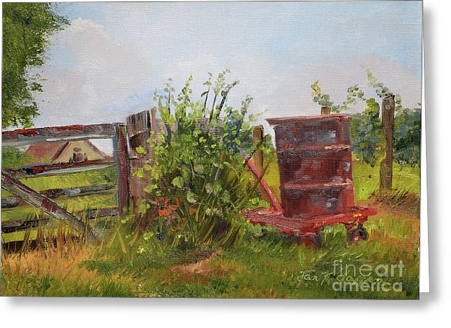Greeting Card featuring the painting Courtney's Gate - Chateau Meichtry Vineyard - Red Barrel by Jan Dappen