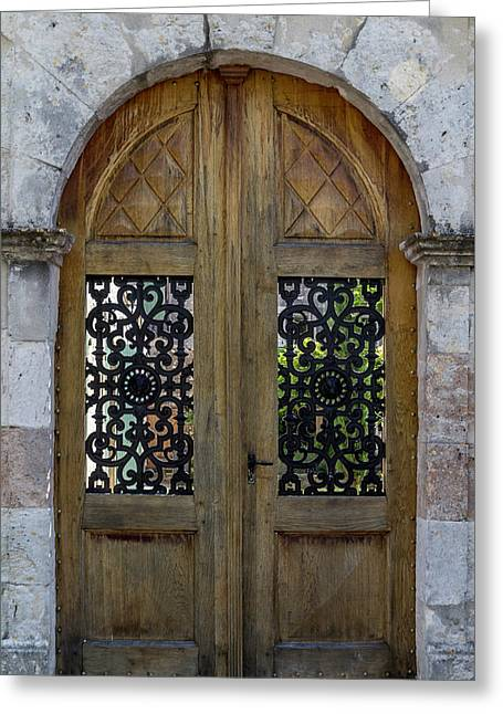 Courtyard Door In Villereal Greeting Card
