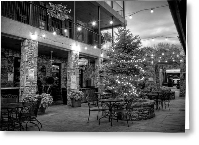 Courtyard In Blue Ridge In Black And White Greeting Card by Greg Mimbs