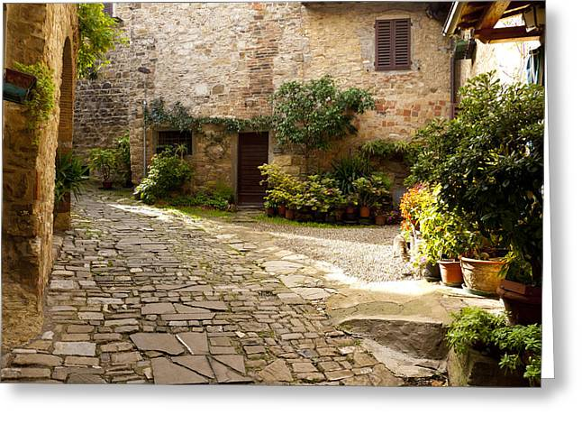 Courtyard In Montefioralle Greeting Card by Rae Tucker