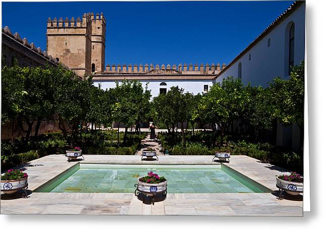 Courtyard In The Castle, Alcazar De Los Greeting Card by Panoramic Images