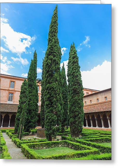 Courtyard Insde Eglise Des Jacobins Or Church Of The Jacobins Greeting Card