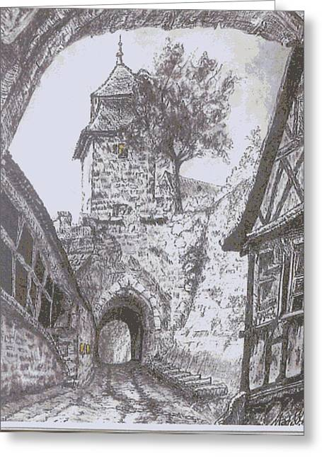 Courtyard Greeting Card by Mark Villemure