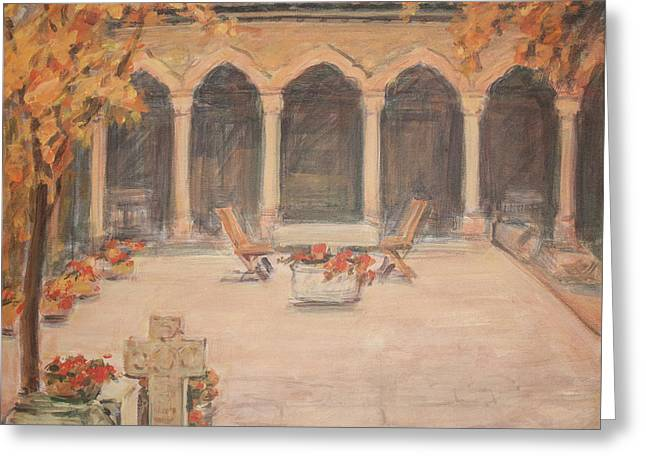 Greeting Card featuring the painting Courtyard Of Stravopoleos Church by Olimpia - Hinamatsuri Barbu