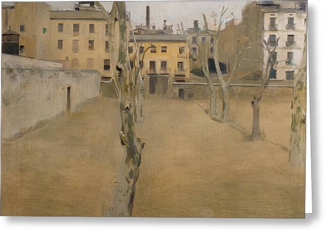 Courtyard Of The Old Barcelona Prison Greeting Card by Ramon Casas